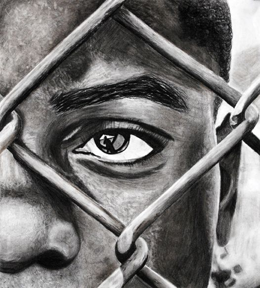 I love everything about this! The cropping, the value study, the reflection in the eyes!