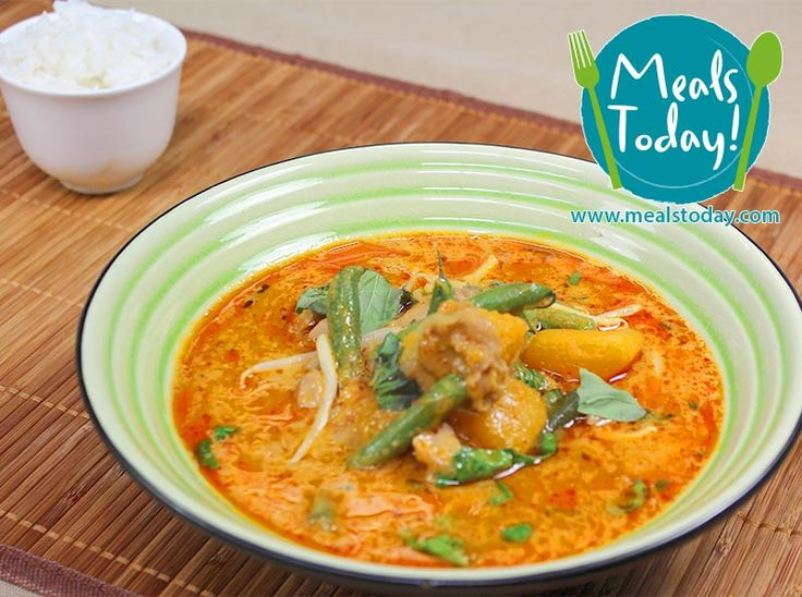 Thai Red Curry simmering Coconut Milk & Kaffir Lime Leaves with Chicken & Pumpkin  Available to order now, for delivery on Tue 16th September  www.mealstoday.com    #mealstoday