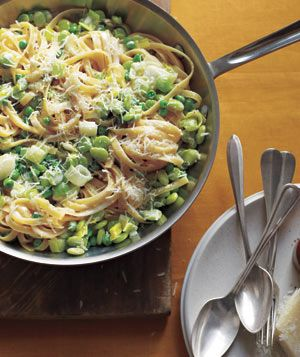 Fettuccine With Lima Beans, Peas, and Leeks|The sweet, buttery taste of lima beans and peas plus rich heavy cream equals a perfect combination. Try more perfect pasta pairs: