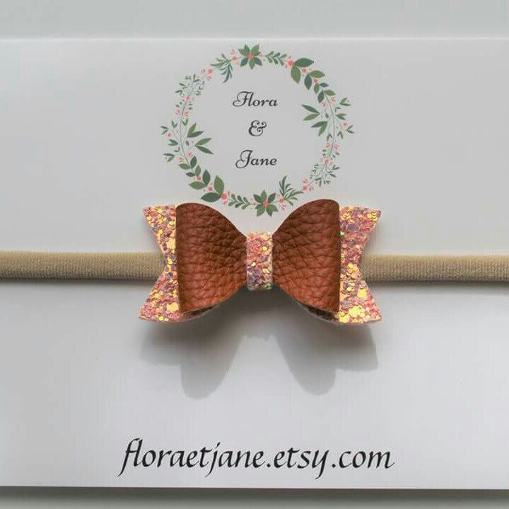 Parfait pour l'automne en bandeau ou barrette avec une petite touche brillante ❤ Perfect Fall bow on headband or hair clip with a little glitter touch! ❤