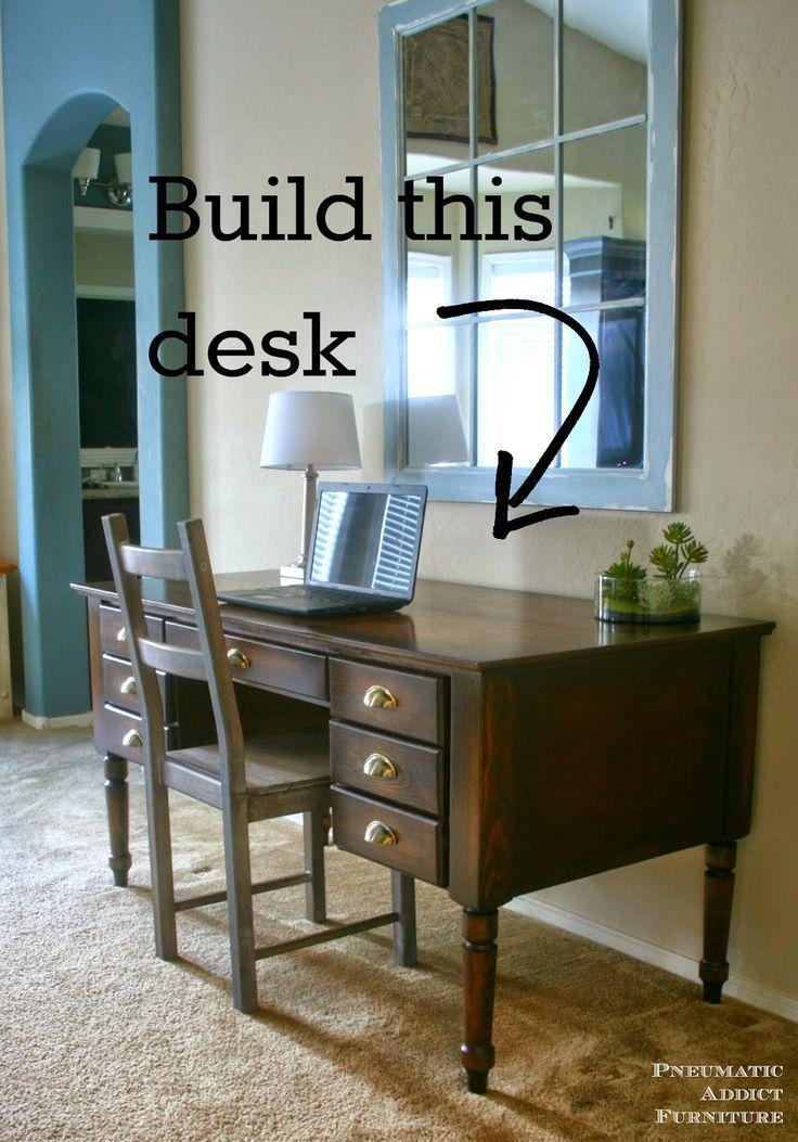 DIY Woodworking Ideas Don't spend hundreds on a designer #desk! Build you own, solid #wood Printer's d...
