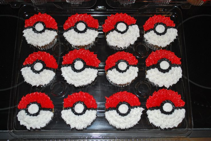 Pokemon Cupcakes - 15 chocolate/15 vanilla cc's decorated in all buttercream to look like the pokemon ball