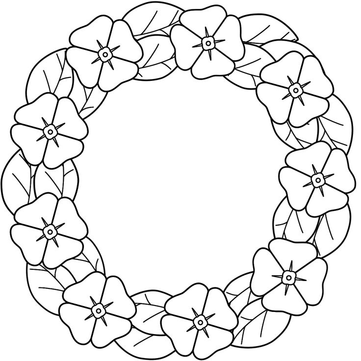 Prowess Poppy Wreath Coloring Page Remembrance Day