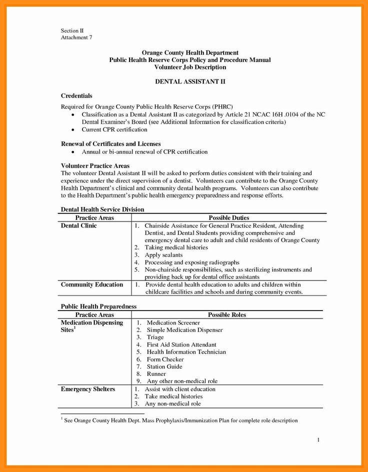 Dental assistant job description for resume best unique