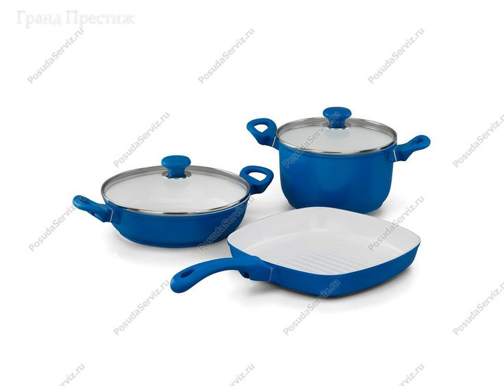 Набор посуды с керамическим покрытием 3 предмета. Производитель: Коркмаз (Korkmaz). Декор: Seravita blue Форма: Seravita. Материал: турецкий алюминий. http://www.posudaserviz.ru/idA1516-2.php
