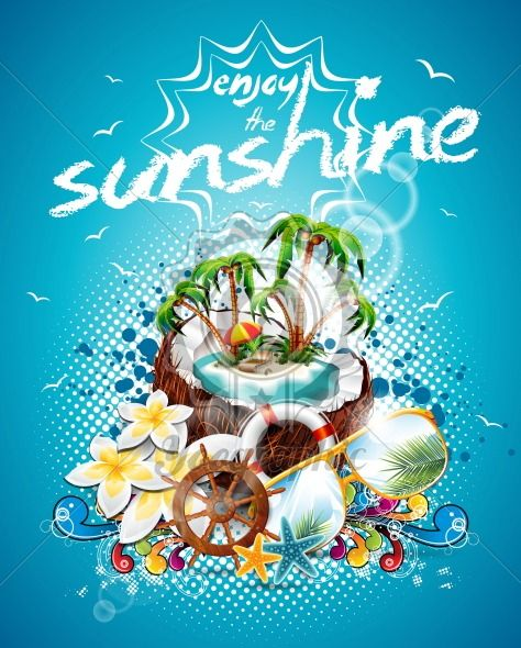 Vector Summer Holiday Flyer Design with coconut and Paradise Island on blue background. Eps10 illustration. - Royalty Free Vector Illustration