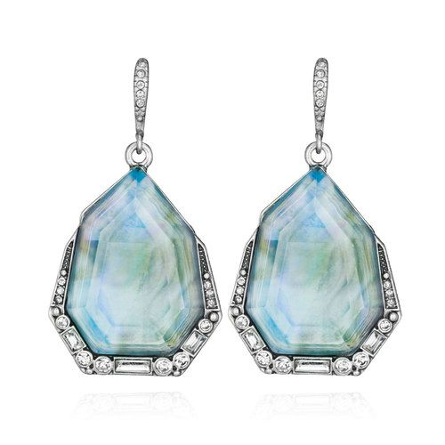 Northern Lights Drop Earrings | Chloe + Isabel abalone + blue mother-of-pearl inlay, clear crystal pavé