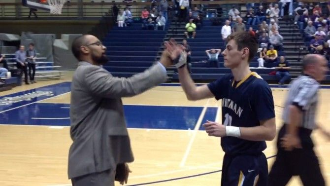 Stephen Garnett, assistant basketball coach at Whitman College, has a custom handshake for each player.