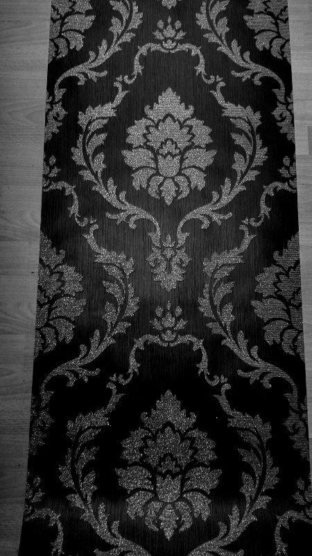 barok zwart glitter diamant behang x204