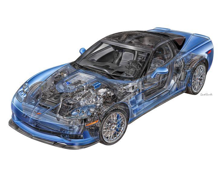 Chevrolet Corvette ZR 1 Cut away Pinterest Drawings