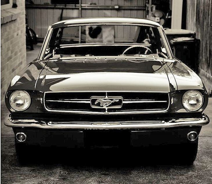 Black shiny Ford Mustang 1965. We owned 3 or 4 1965 Mustangs over the years. Timeless car.
