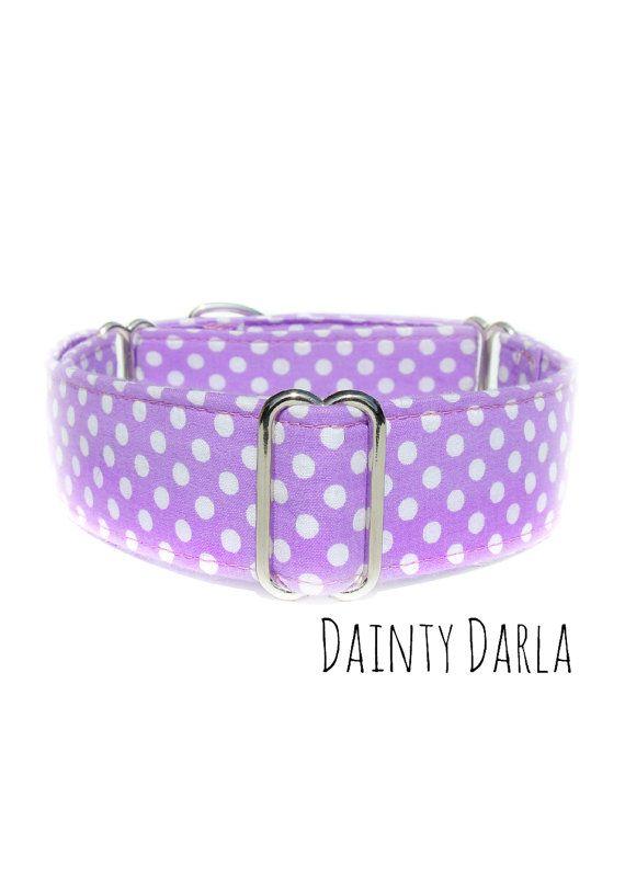 Purple Dog Collar Girly Polka Dot Martingale 1 inch by CollarTown