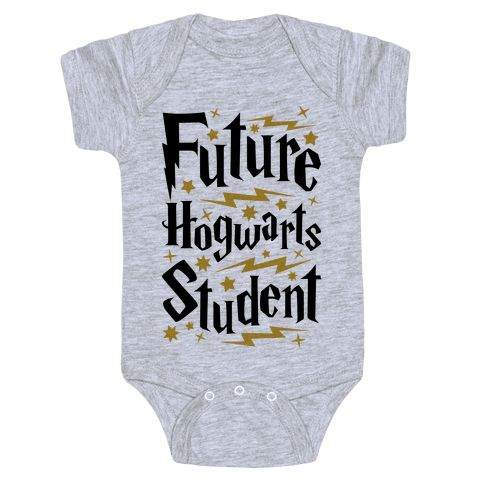 Future Hogwarts Student - This Harry Potter baby shirt is a perfect choice of baby shower gift for any nerdy parents you happen to know, or to show off that your own little bundle of magic is a future Hogwarts student! Show your pride in the wizarding world with this nerdy baby gift!