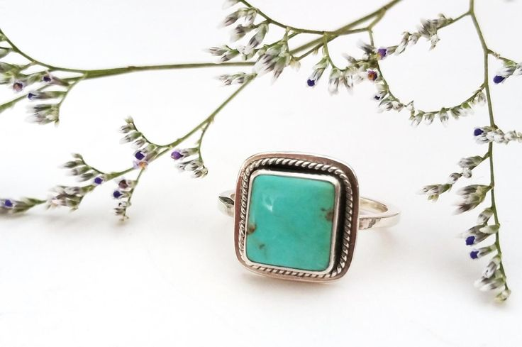 Turquoise Square Ring by RebeccaGeoffrey on Etsy