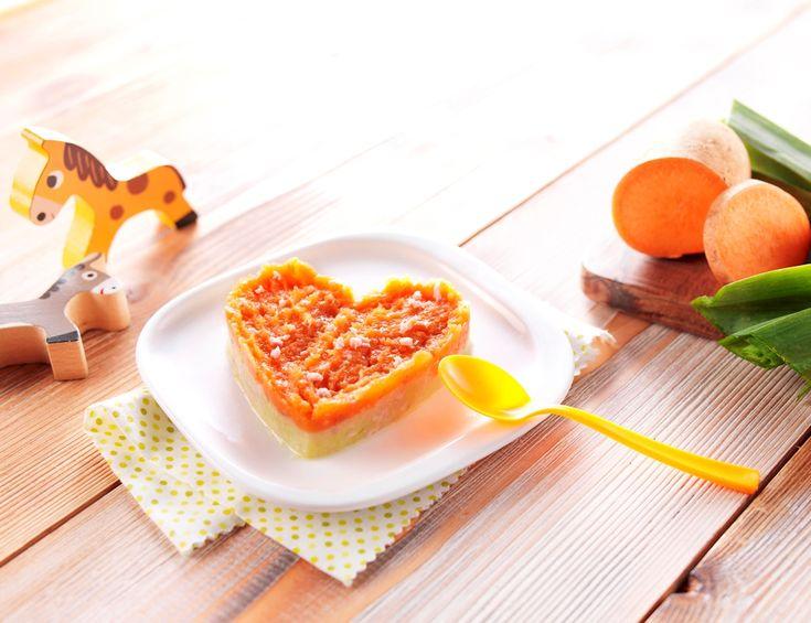 """Une recette pour dire """"Je t'aime"""" à Bébé le jour de la Saint-Valentin! Cœur Délice Patate douce-Poireaux pour bébé dès 6 mois. #recettebébé #diversification #8mois #saintvalentin"""
