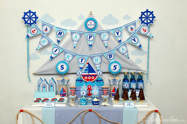 Nautical Birthday Party Package Personalized Printable Design by leelaaloo.com