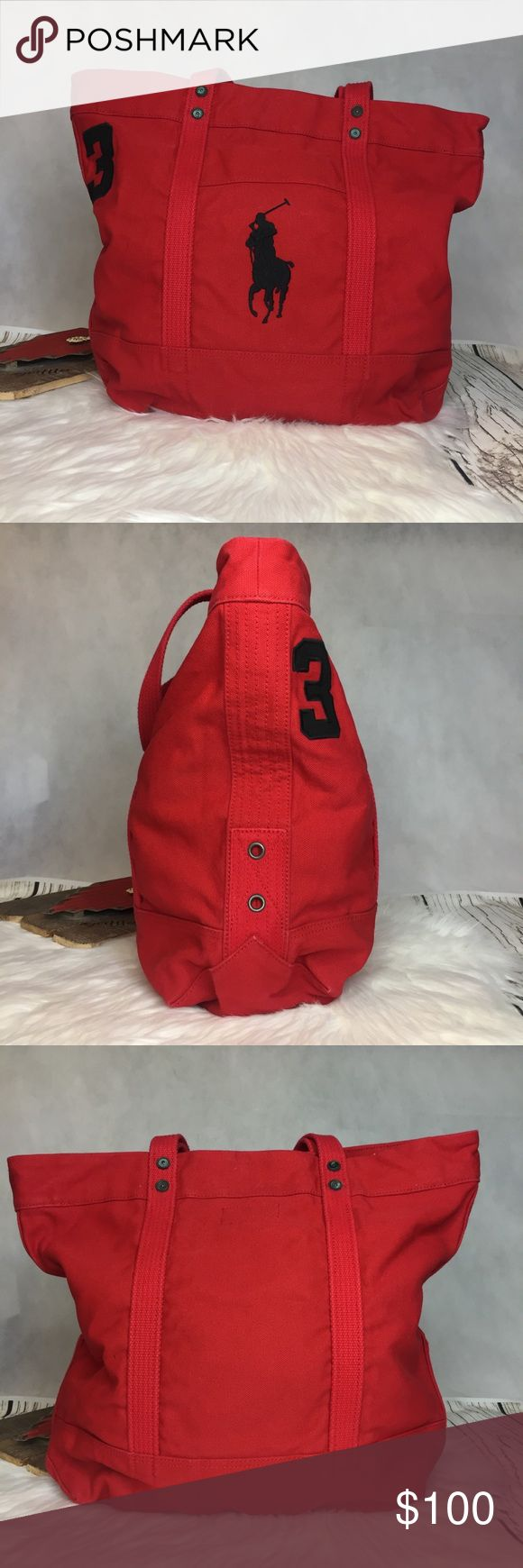 """Polo Ralph Lauren Red Canvas Embroidered Tote Bag NWT!  ▪️height: 13"""" ▪️length: 16"""" ▪️depth: 6"""" ▪️strap/handle drop: 8""""  Reasonable offers are always welcome! Please no trades 🌸 Polo by Ralph Lauren Bags Totes"""
