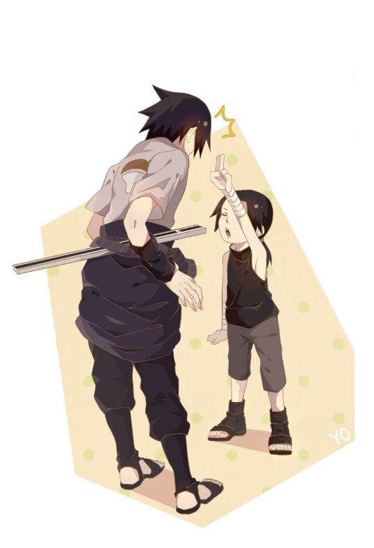 Itachi and Sasuke Uchiha from Naruto. Age reversal much? (Sasuke older, Itachi younger)