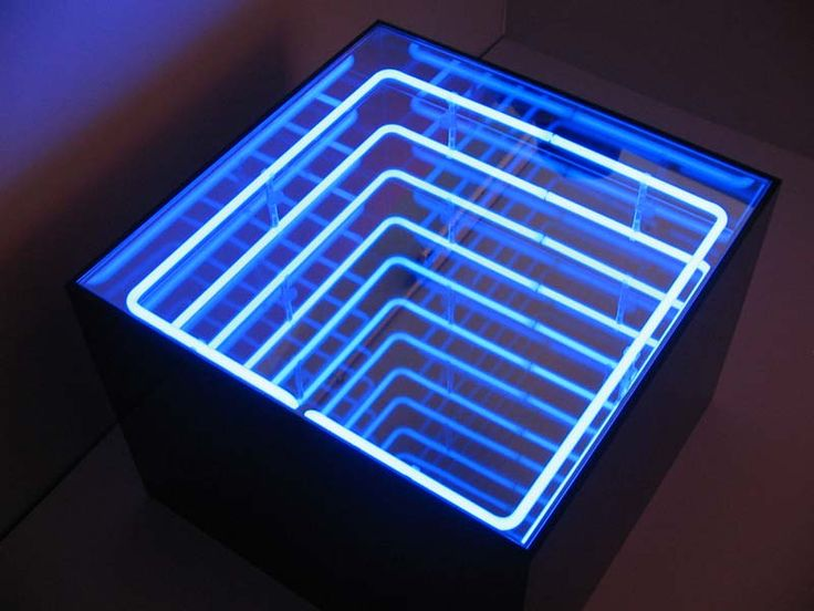 Blue Square Neon Infinity Table Glass Art Neon