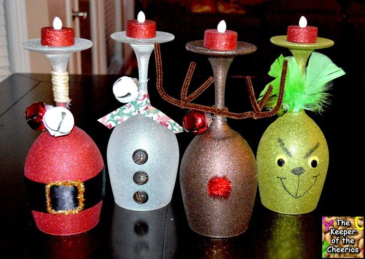 Christmas Wine Glass Candle Holders: