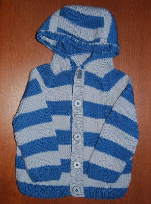 Knitted toddler's hooded jacket. Materials: wool