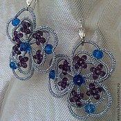 Handmade šperky.  Fair Masters - handmade náušnice frivolitky ankars Violet.  Handmade.
