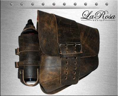 LaRosa Rustic Brown Leather Solo Strap Softail Rigid Saddlebag Fuel Gas Bottle