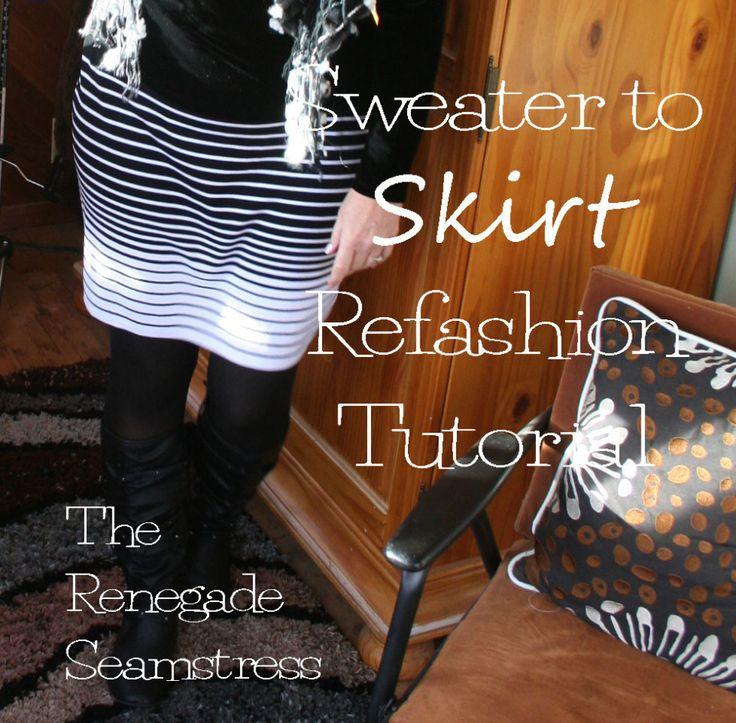 sweater to skirt refashion tutorial