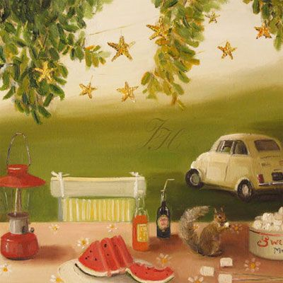 Sweet summer picnic painting