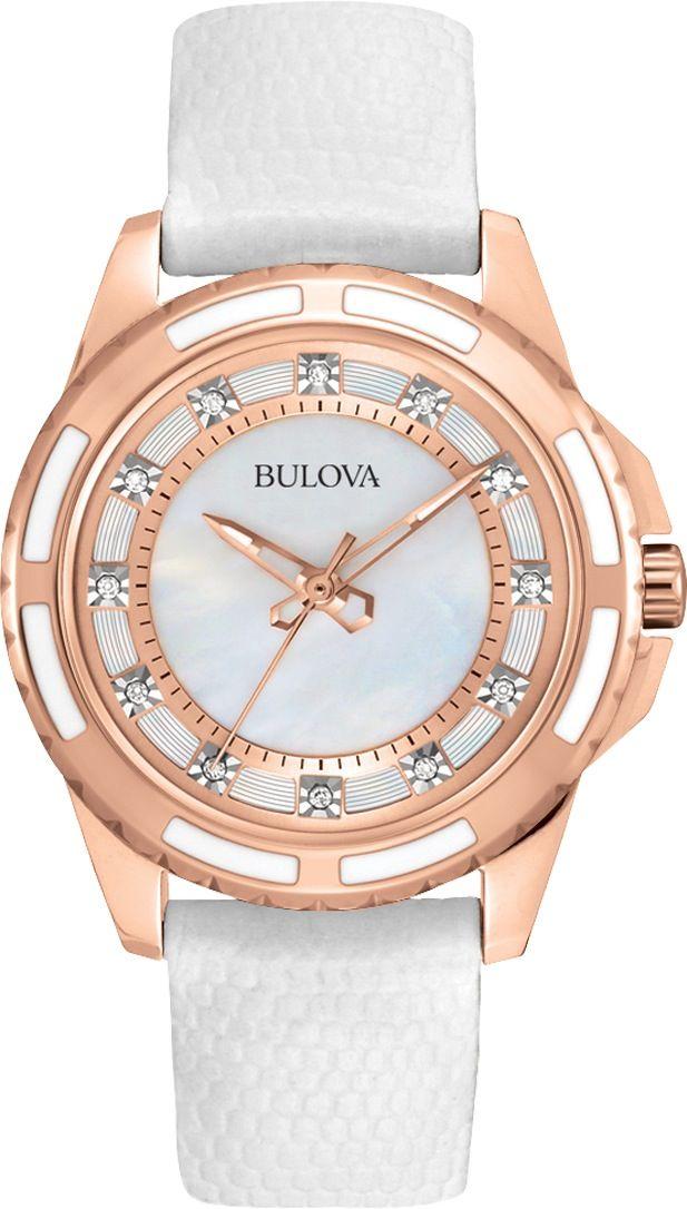 Wyjątkowej urody zegarek damski Bulova Diamond 98P119, pozłacana koperta, perłowa tarcza, 12 diamentów  i skórzany pasek  Perełka wśród zegarków damskich!  http://www.zegarek.net/zegarki/damskie/index.html #zegarek #zegarki #diamenty #watch