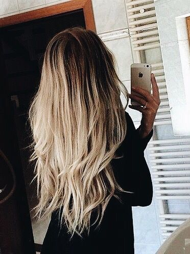 Long Straight Layered Hair with White-Blonde Ombre Coloring