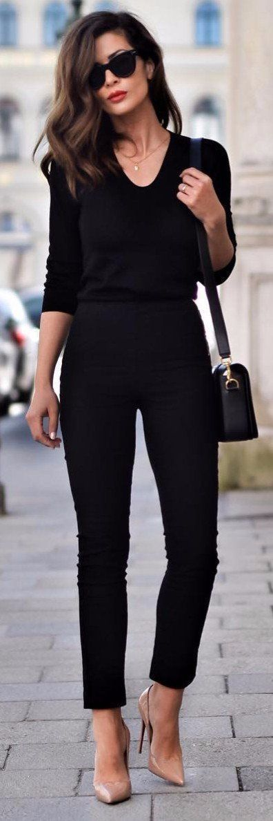 all black everything with nude high heels