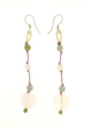 Rose quartz heart earrings with jade beads