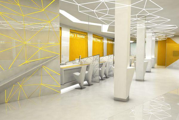 bank interior / wnętrze banku on Behance