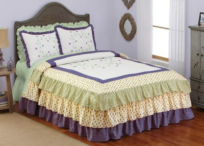 Embroidered Floral Leila Ruffled Bedspread