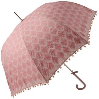 Dusky Lavender Umbrella with Glittery Damask Pattern and PomPom Fringe  by Lisbeth Dahl