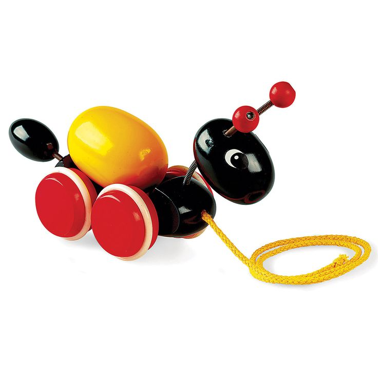 Perfect for industrious little ones, this black ant wooden toy is certain to keep your kids busy for hours. A wonderful gift for any toddler, this Ant Pull-Along Toy features a rotating egg. Ages 19 mos. and up. Measures: 11W x 4.25H in.