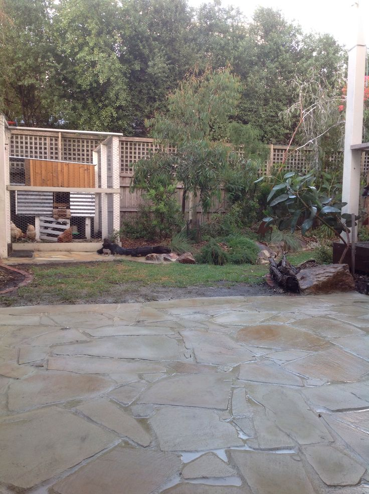 Flagstone patio to replace the dogs favourite place to dig! Finished.