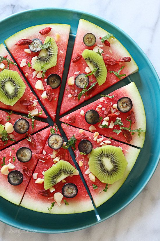 """Watermelon """"Pizza"""" with Feta and Balsamic 