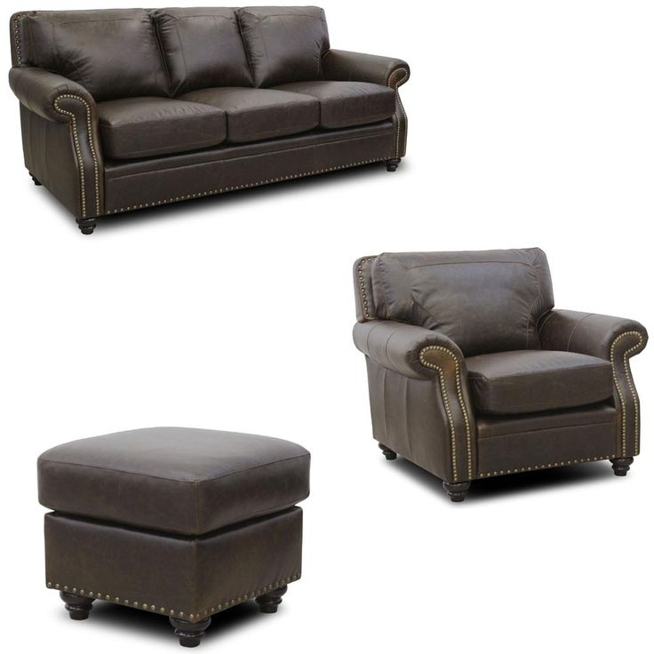 Luke Leather - Mason 3 Piece Arabica Italian Leather Living Room Set in Closeout - MASON-SCO-CLOSEOUT