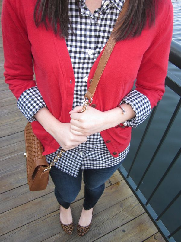 Gingham and a red cardigan - perfect for game day! #kendrascott #teamKS