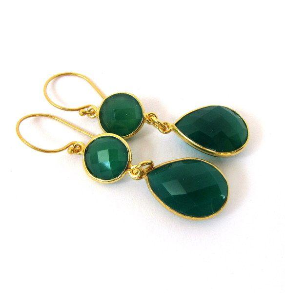 Grüner Onyx Ohrringe 925 Sterling Silber vergoldet von .....bellesa..... auf DaWanda.com