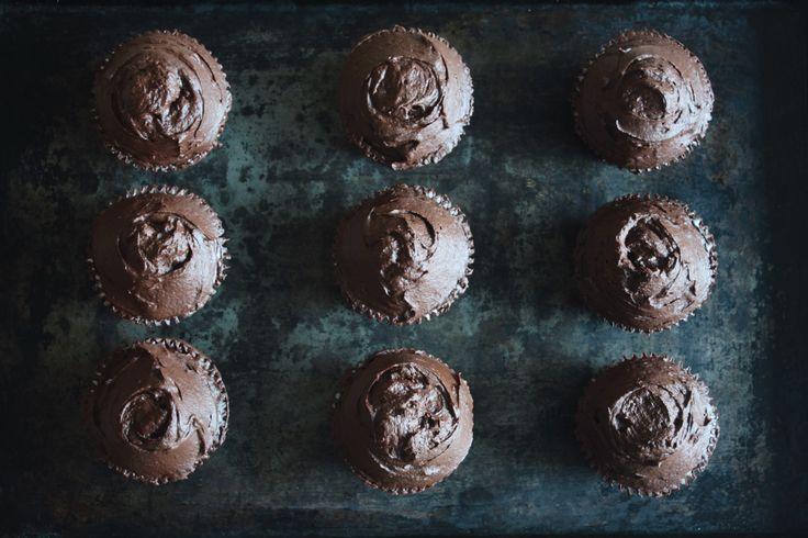 Chocolate Cupcakes with Dark Chocolate Ganache Frosting