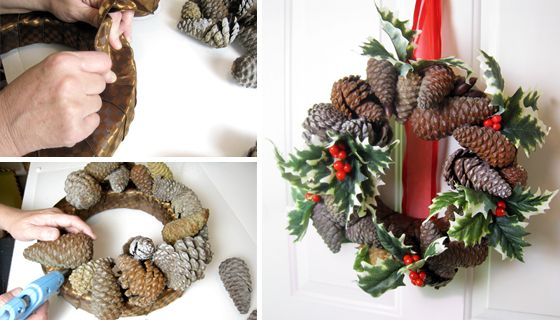 Looking for a natural Christmas wreath? I made this wreath by picking up some pine cones and acorns at the park. I had to purchase the holly leaves because we don't really have those lying around nearby. He-he. #christmascrafts #christmaswreaths: Wreath Ideas, Wreaths Ideas