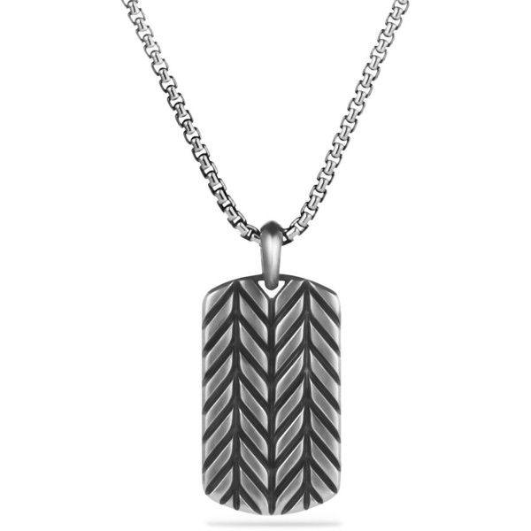 David Yurman Modern Chevron Tag Necklace (383.845 CRC) ❤ liked on Polyvore featuring men's fashion, men's jewelry, men's necklaces, jewelry, silver, david yurman mens necklace and mens silver necklace