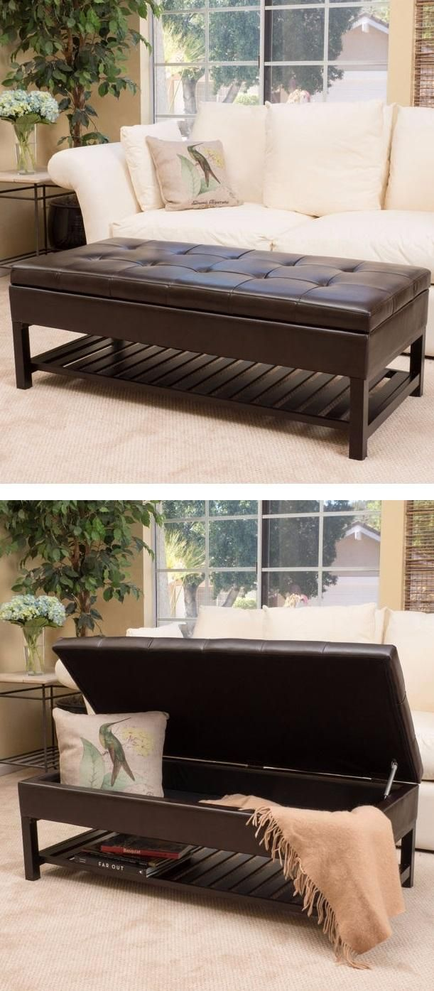 Function and style is exactly what you will get with the Fowler Bonded Leather Storage Bench. Supple Chocolate Brown Bonded Leather upholstery with top tufting will add style to any room. Open the top of the ottoman and you will find a nice storage compartment that is perfect for putting away books, blankets or anything else to keep the room tidy.