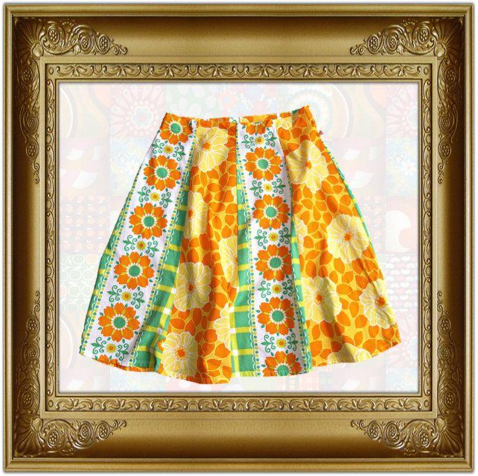 Mamalore Vintage gele  banen rok maat M/L yellow print a line skirt floral print 1960s 1970s look