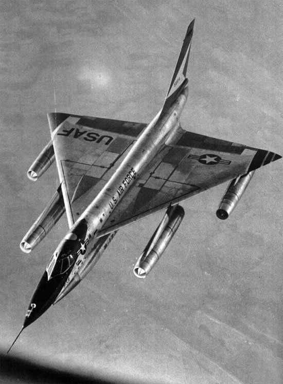 Convair B-58 Hustler, first supersonic bomber. First flight 1956.