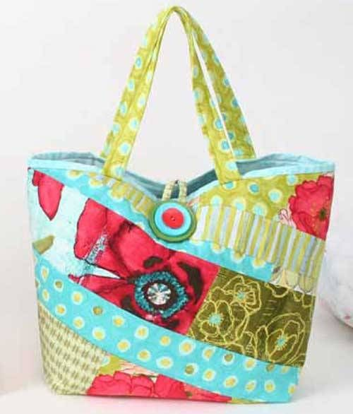 Have fun designing your own custom bag with this quick pattern. The one-piece bag front/back is created using a quilt-as-you-go technique. Piece it using a