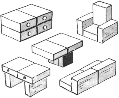 ideas for arranging matchboxes into mini furniture. Just look at picture, link not too helpful.
